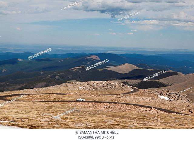 Evans Road heading to the summit of Mt Evans, Colorado, USA