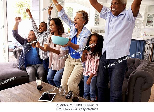 Multi generation black family watching sport on TV celebrate