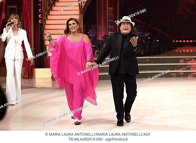 Milly Carlucci, Romina Power and Albano Carrisi in Al Bano during the tv show Dancing with the stars, Rome, ITALY-07-04-2018