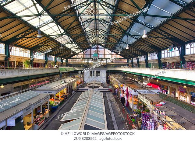 Interior of Grade II listed Cardiff Central Market, Castle Quarter, Cardiff, Wales, United Kingdom