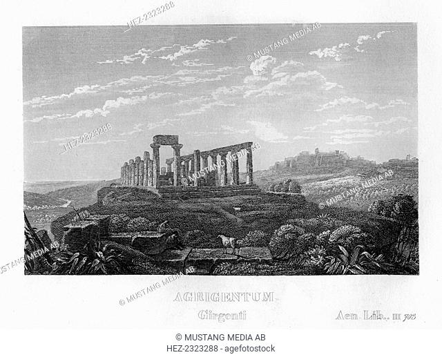 Agrigento, Sicily, Italy, c1833. Also known as Agrigentum, Agrigento is the site of the Ancient Greek city of Akragas. Established around 580 BC