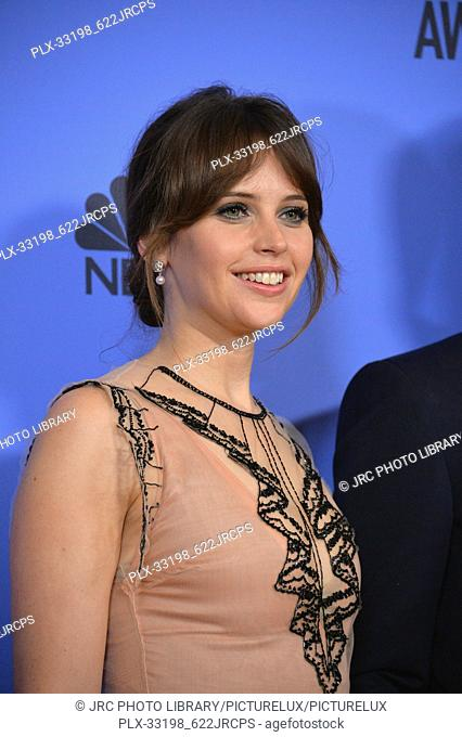 Felicity Jones at the 74th Golden Globe Awards at The Beverly Hilton Hotel, Los Angeles, CA , USA , January 8, 2017