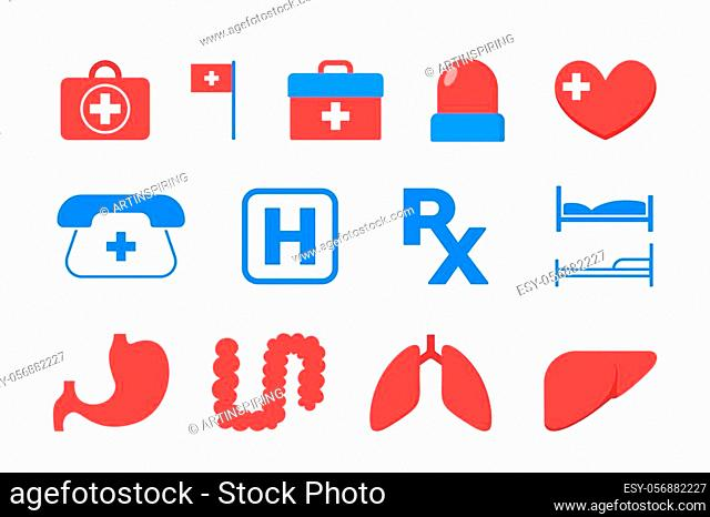Medicine icon set. Idea of medical aid and emergency. Health and pharmacy. Isolated vector illustration in flat style