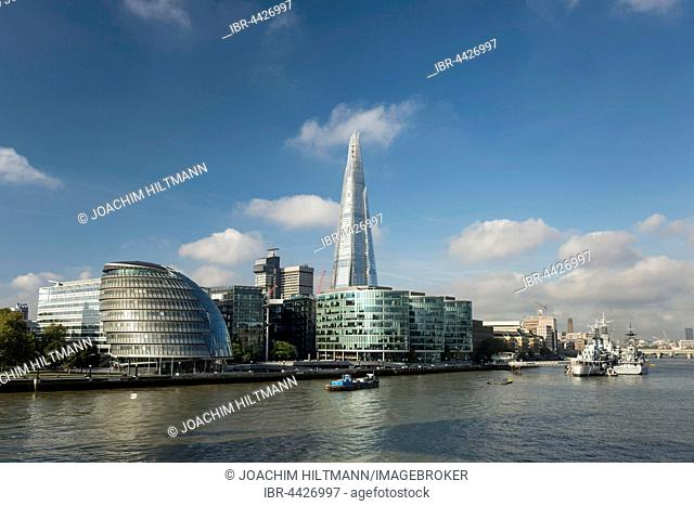 Skyline with More London, The Shard on the Thames, London, England, United Kingdom