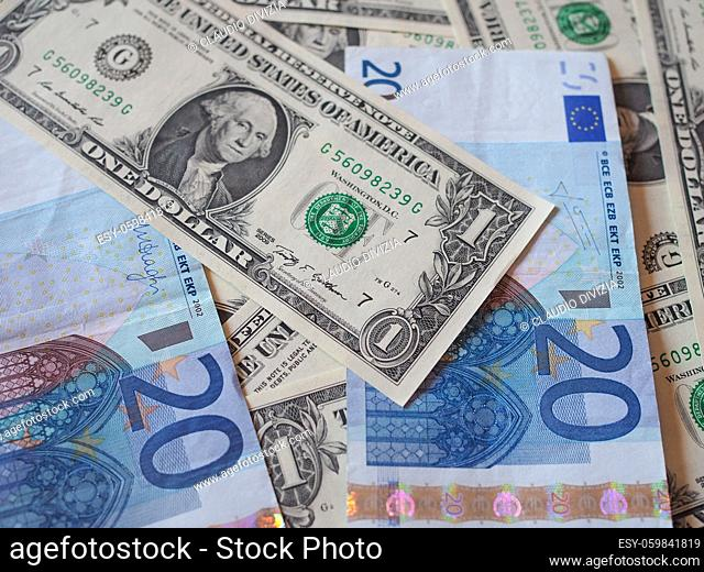 Mixed banknotes Euro and Dollars useful as a background