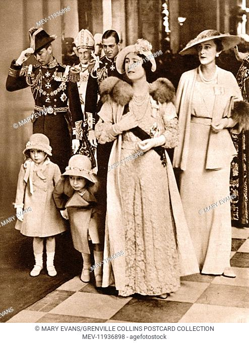 Royals leaving St. Pauls - Silver Jubilee of King George V on May 6th, 1935. The Duke and Duchess of York and their children with the Duke and Duchess of Kent...