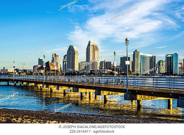 Public pier and the San Diego Downtown Skyline in the early morning. View from Coronado, California, United States