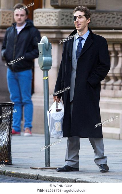 """Glasgow is transported into New York for the filming of """"""""Melrose"""""""" with Benedict Cumberbatch. Featuring: Benedict Cumberbatch Where: Glasgow"""