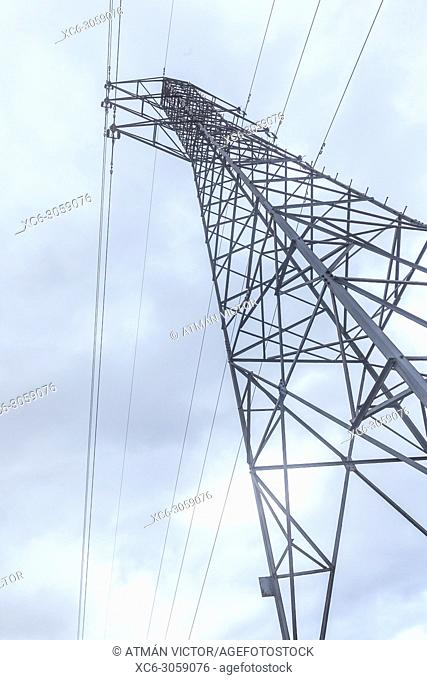 Transmission tower view from below. Spain