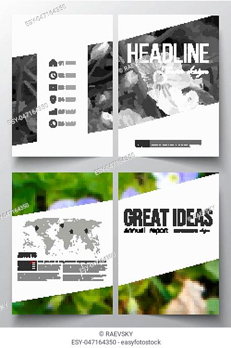 Set of business templates for brochure, magazine, flyer, booklet or annual report. Floral background, blurred image, flowers in green grass closeup
