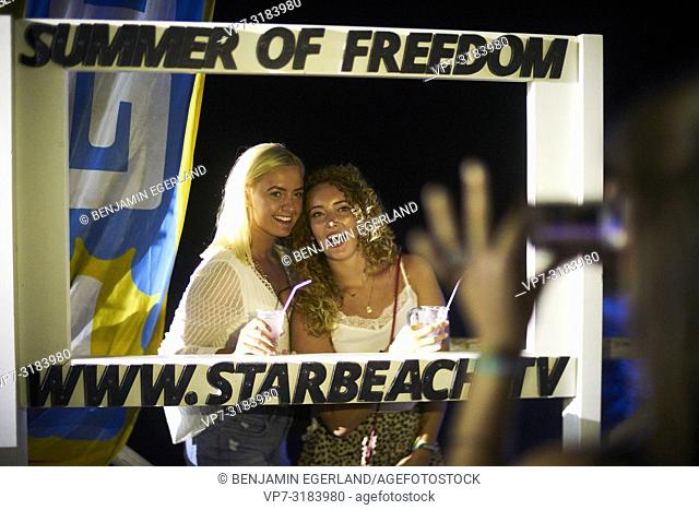women at music festival Starbeach on 13. August 2018 in Chersonissos, Crete, Greece, summer of freedom