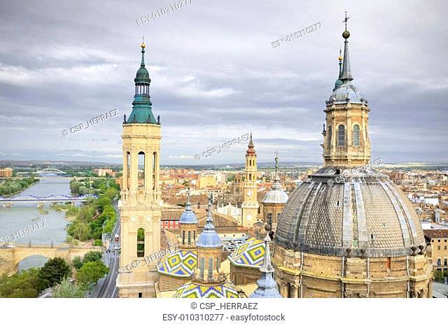Aerial view of el Pilar cathedral-Basilica in Zaragoza, Spain