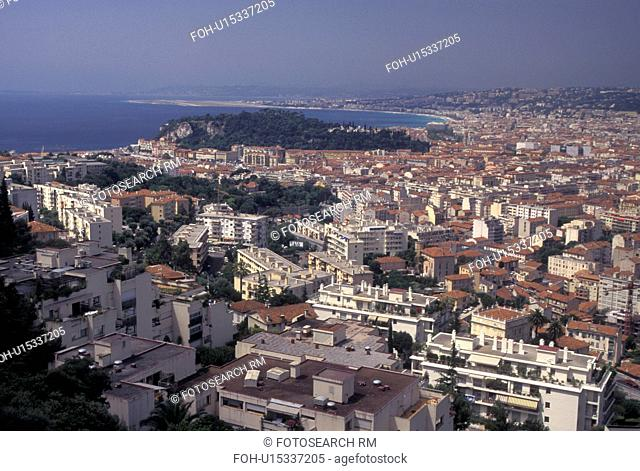 Nice, France, Cote d' Azur, Provence, Alpes-Maritimes, Europe, Aerial view of the city of Nice along the Mediterranean Sea
