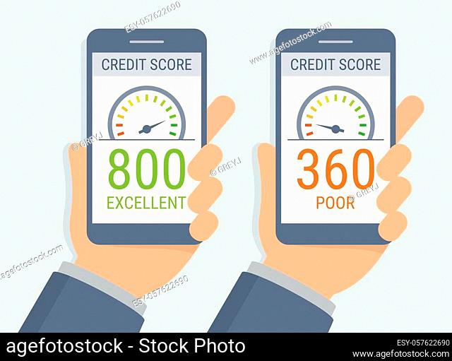 Vector hands holding smartphones with credit score app on the screen in flat style