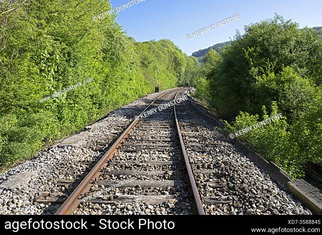 Europe, Luxembourg, Colmar-Berg, Curved Railway Line