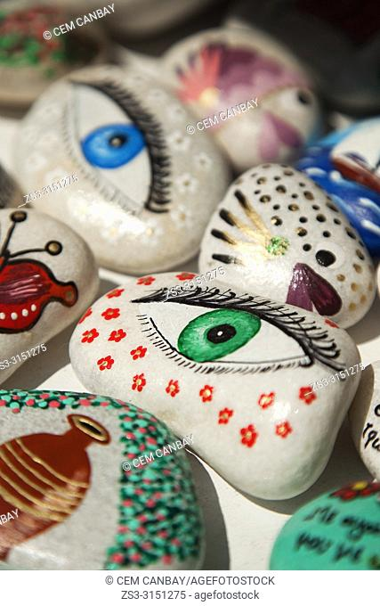 Painted stones for sale at the shop in Parikia town center, Paros Island, Cyclades Islands, Greek Islands, Greece, Europe