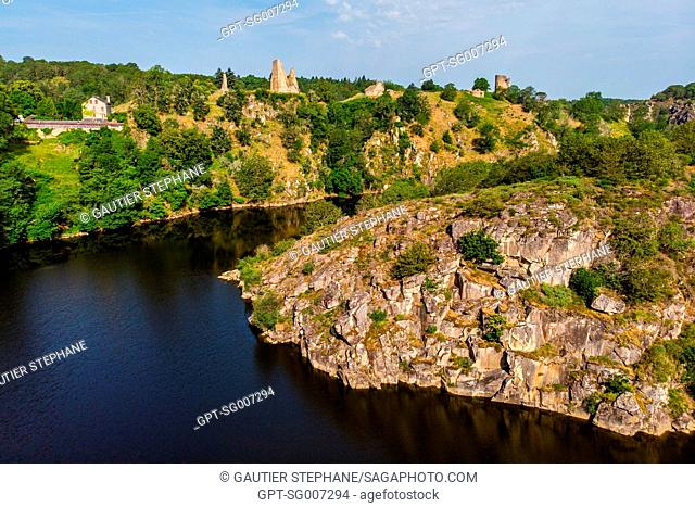 THE CREUSE AND THE MEDIEVAL FORT OF CROZANT, (23) CREUSE, LIMOUSIN, NEW AQUITAINE, FRANCE