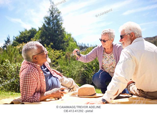 Active senior friends using camera phone, enjoying summer picnic