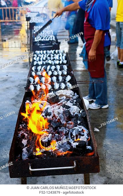 Grilled sardines in the Festival of Santoña, Cantabria, Spain