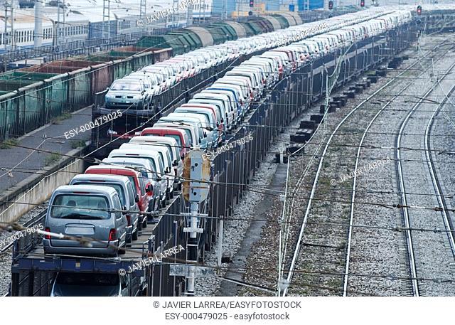 Cars for export, Train station. Irun. Guipúzcoa (Spanish-French border)
