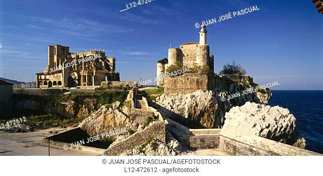 St. Mary's collegiate church and castle, Castro Urdiales. Cantabria, Spain
