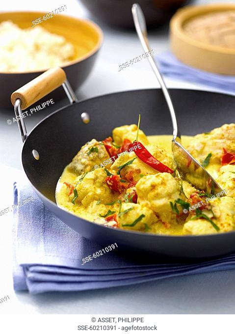 Monkfish and chili pepper curry