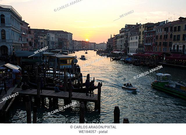 View from Rialto Bridge in Venice Italy before sunset