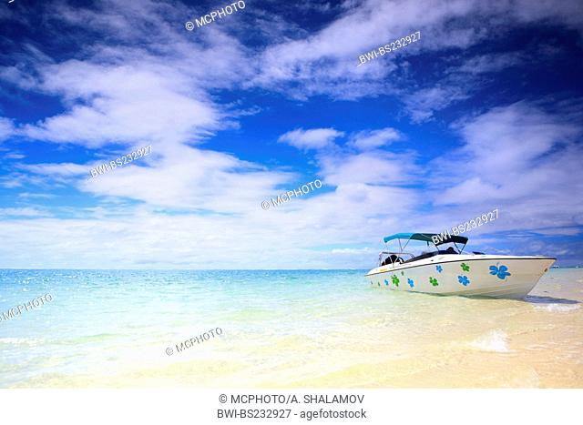 Tropical paradise. White sand beach, turquoise ocean and blue sky., Mauritius, Indian Ocean