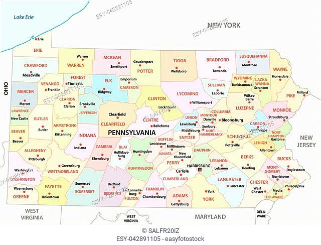 Pennsylvania administrative and political vector map