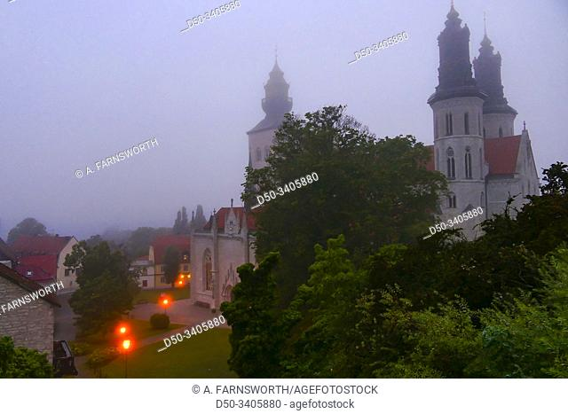 Visby, Gotland, Sweden Tjhe Visby Cathedral in the early morning fog