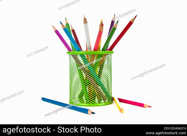 Colourful pencils isolated on the white