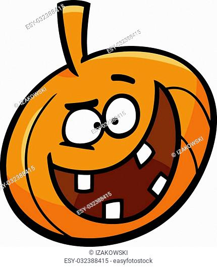 Cartoon Illustration of Funny Halloween Pumpkin Clip Art