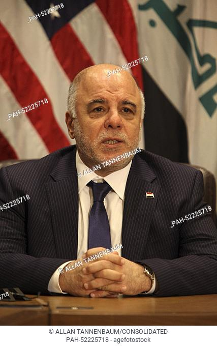 Prime Minister Haider al-Abadi of the Republic of Iraq holds a bilateral meeting with United States President Barack Obama at UN Headquarters in New York