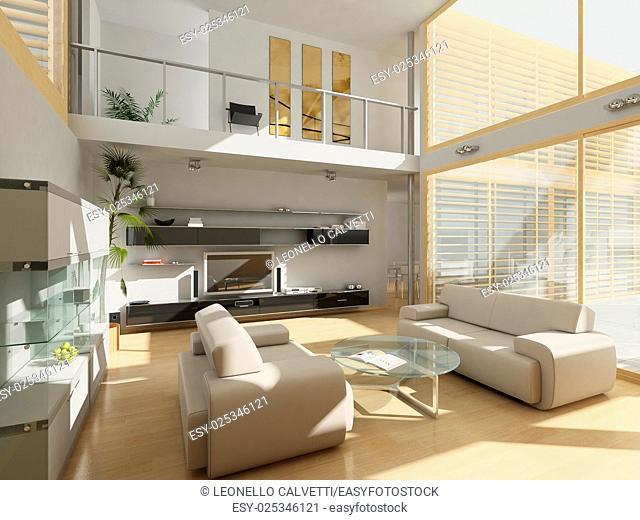Modern livingroom with large windows