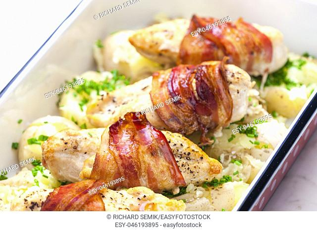 poultry roulade with bacon