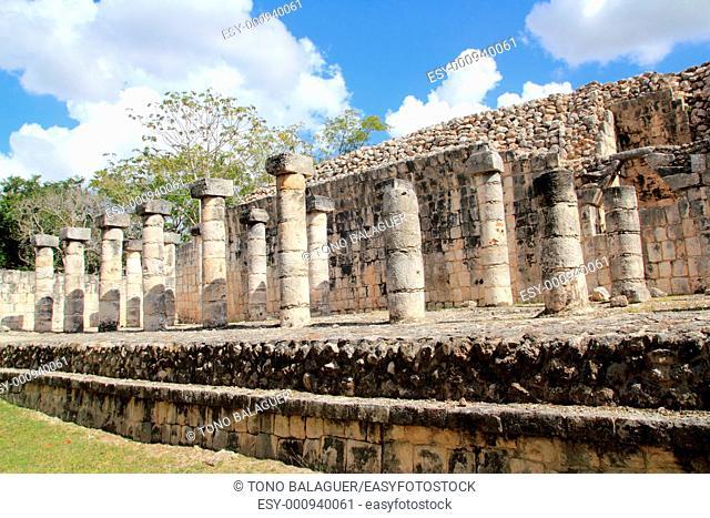 Columns Mayan Chichen Itza Mexico ruins in rows Yucatan