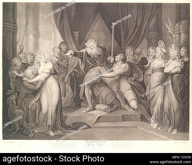 King Lear Casting Out His Daughter Cordelia (Shakespeare, King Lear, Act 1, Scene 1). Series/Portfolio: Boydell's Shakespeare Gallery; Engraver: Richard Earlom...