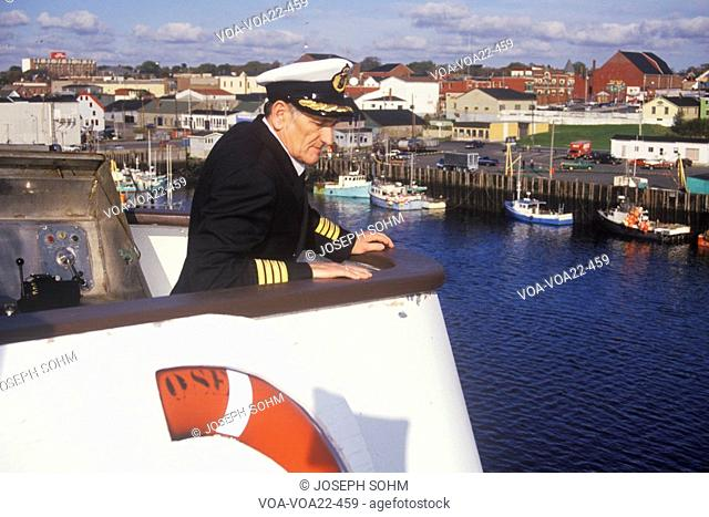 The captain of the Bluenose atop the ferry to guide it into the dock, Yarmouth, Nova Scotia