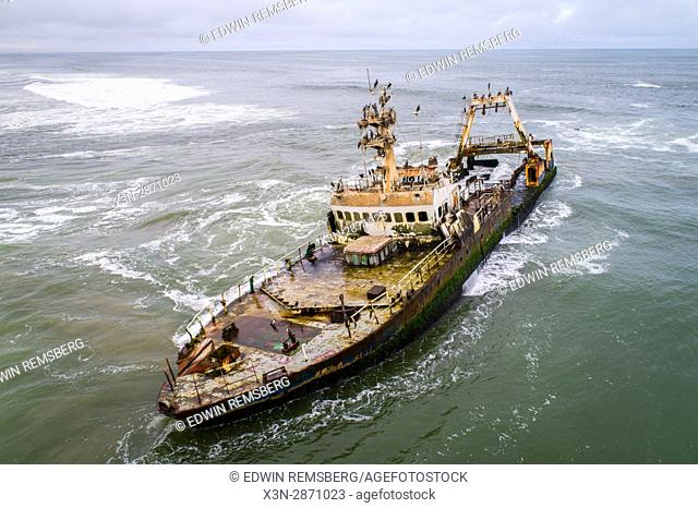 Shipwreck Zeila at Skeleton Coast near Henties Bay, Namibia along Namibia's Skeleton Coast in Africa is seen from above