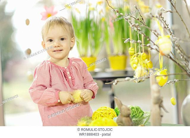 Little Girl Playing With Easter Decoration, Osijek, Croatia, Euope
