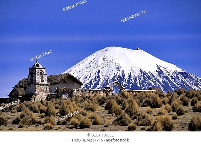 Bolivia, Oruro Department, Sajama Province, Sajama National Park, Sajama, 16th century colonial church and Payachatas Volcanoes
