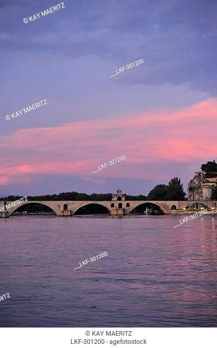 Bridge of Avignon above the river Rhone in the afterglow, Avignon, Vaucluse, Provence, France, Europe