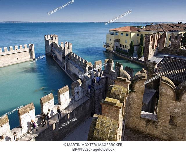 Harbour and historic city centre along the Scaligero Castle, Lake Garda, Lago di Garda, Lombardy, Italy, Europe