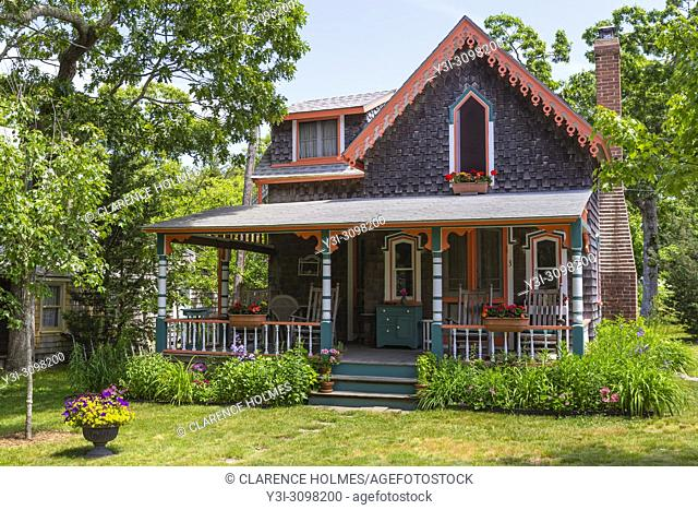 A colorful gingerbread cottage in the Martha's Vineyard Camp Meeting Association (MVCMA) in Oak Bluffs, Massachusetts