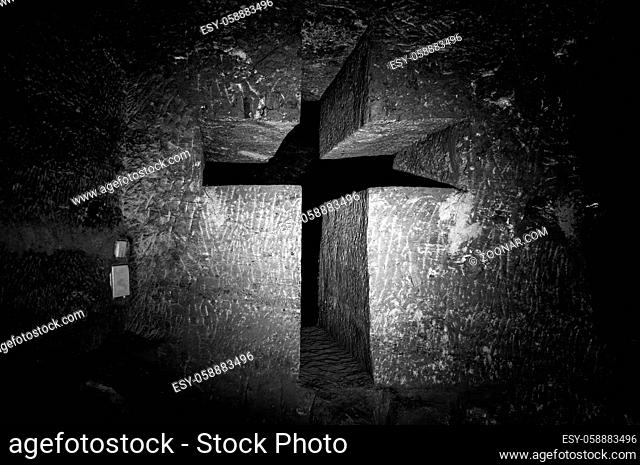 Christian Cross Sculpture carved in rock in Salt Cathedral of Zipaquira, Colombia