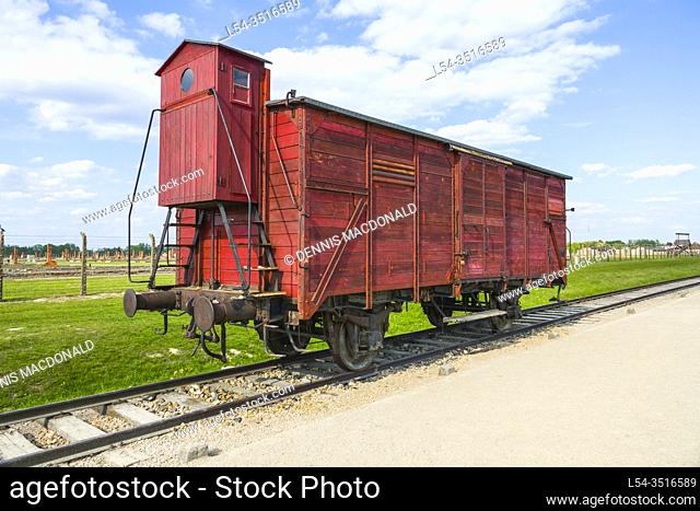Boxcar Train Tracks Auschwitz Birkenau Concentration Camp OŠ›wiÄ. cim Museum Southern Poland Europe EU UNESCO
