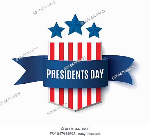 Presidents Day background template. Badge with blue isolated on white . Vector illustration