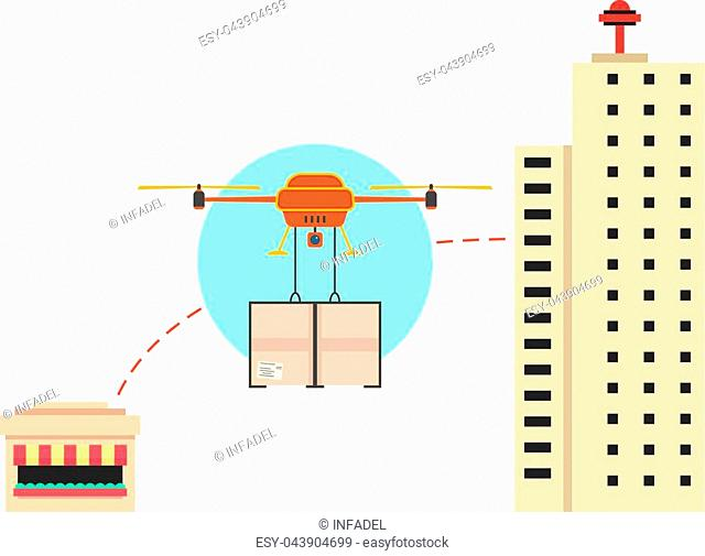 food delivery in town with drone. concept of development, e-commerce, future service, robot, aerial, store, cargo. isolated on white background