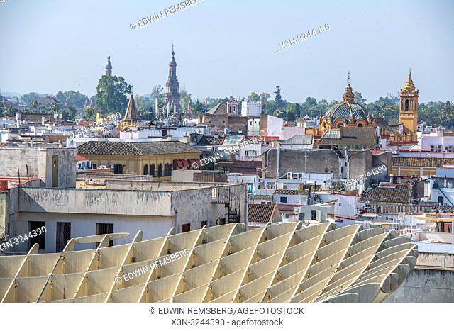 A cityscape view of from Metropol Parasol is a wooden structure located at La Encarnacion square, in the old quarter of Seville, Spain