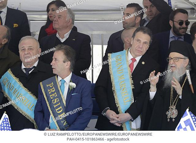 Fifth Avenue, New York, USA, April 22, 2018 - Thousands of Peoples in Traditional Greek Costumes, Dignitaries along with Grand Marshal Andrew Cuomo Participated...